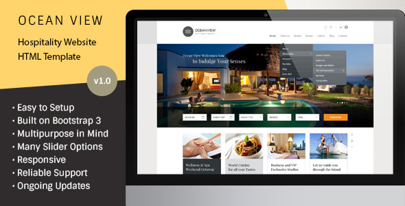 ThemeForest Ocean View Hotel Website HTML Template 7792547
