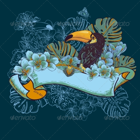 GraphicRiver Tropical Exotic Floral Card with Toucan 7792857