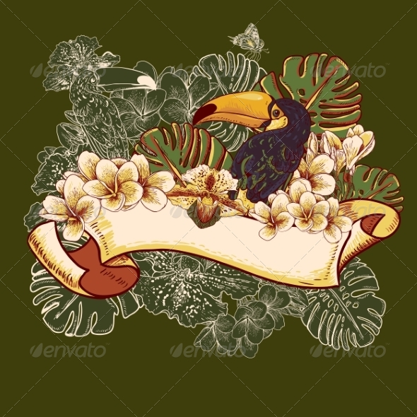 GraphicRiver Tropical Exotic Floral Card with Toucan 7792859