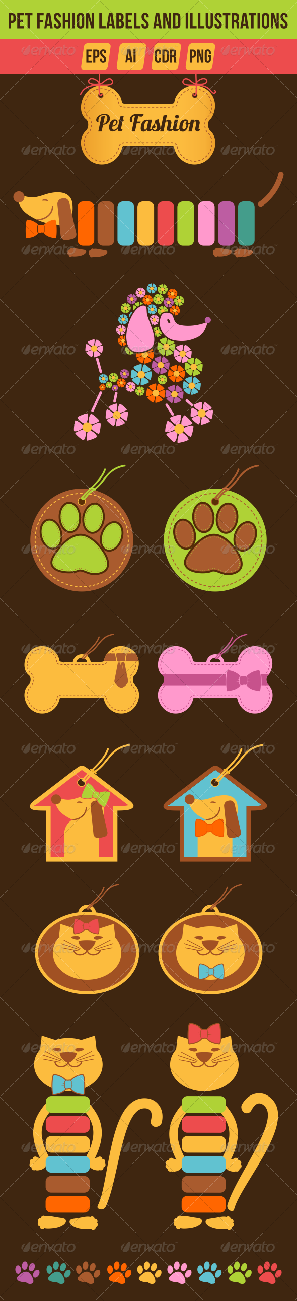Pet Fashion Labels and Illustrations