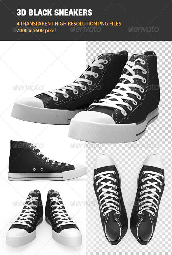 GraphicRiver 3D Black Sneakers 7041082