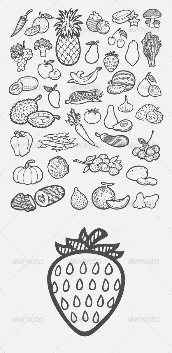 GraphicRiver Fruit and Vegetable Icons Sketch 7793751