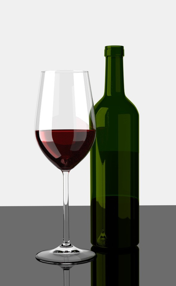 3DOcean Glas of Red Wine with Bottle 7793754