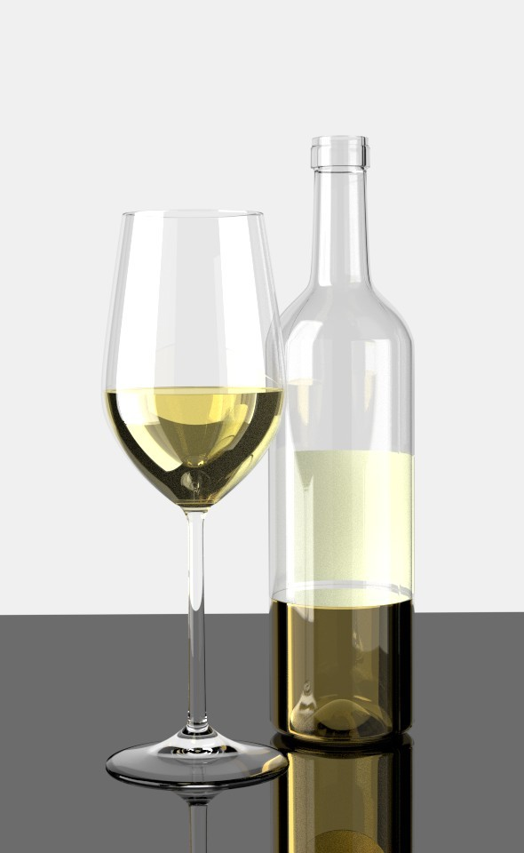 Glas of White Wine - 3DOcean Item for Sale
