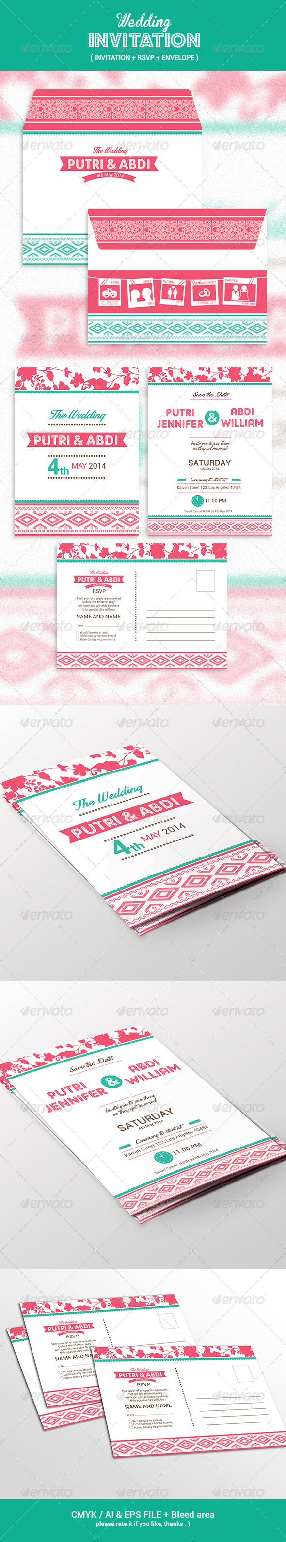 GraphicRiver Wedding Invitation Set 7793913