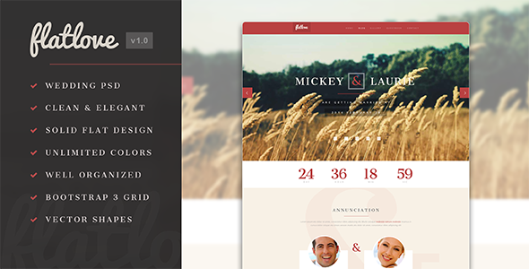 ThemeForest FlatLove Elegant Flat Wedding Psd Template 7794157