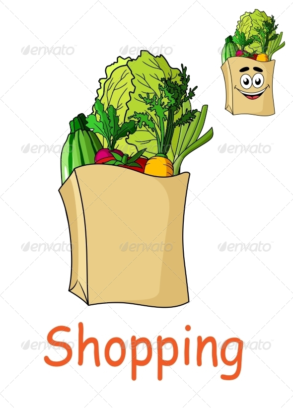 GraphicRiver Brown Shopping Bag with Fresh Groceries 7794861