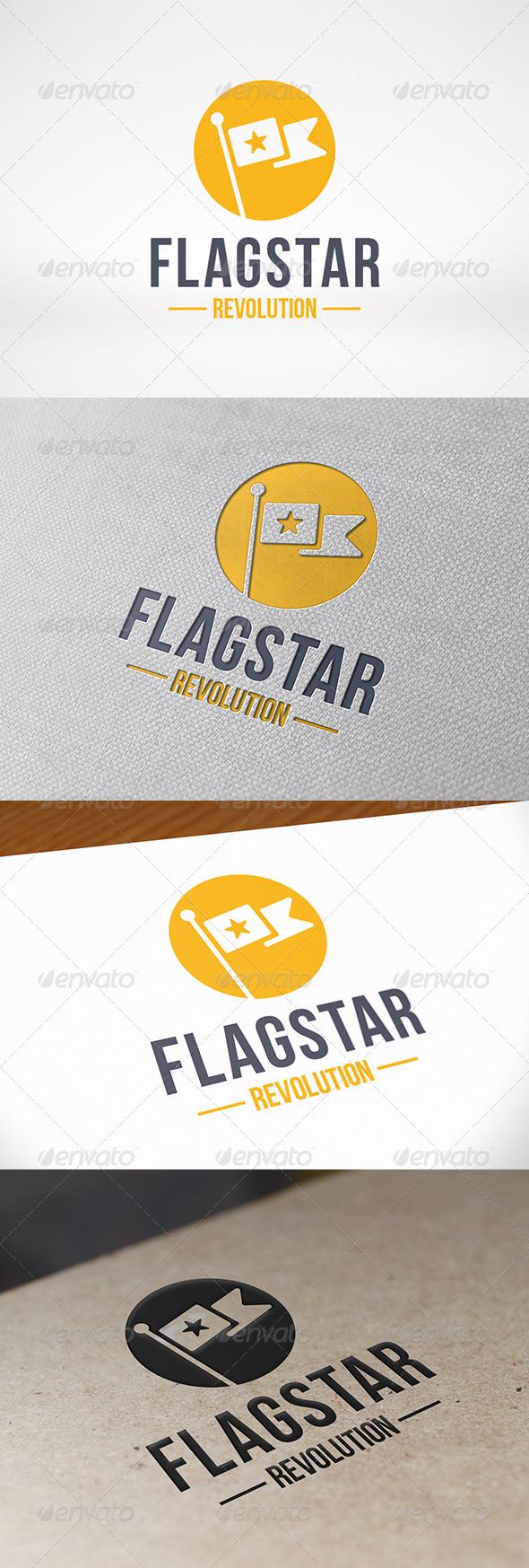 Flag Star Logo Template