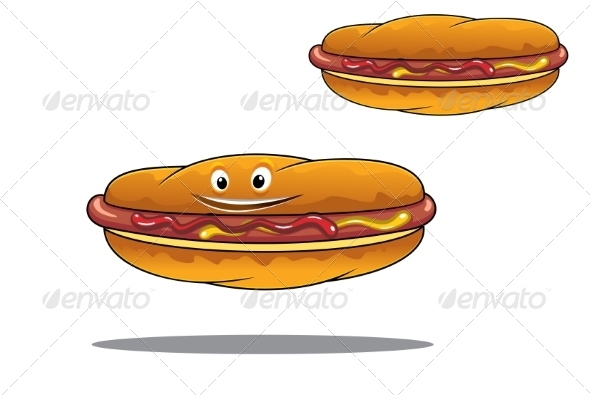 Two Hotdogs with Mustard and Ketchup