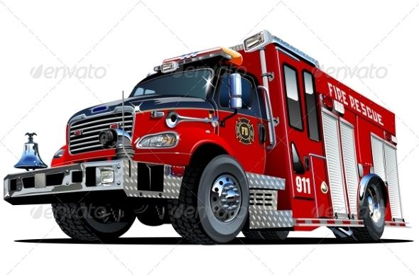 GraphicRiver Vector Cartoon Fire Truck 7795344