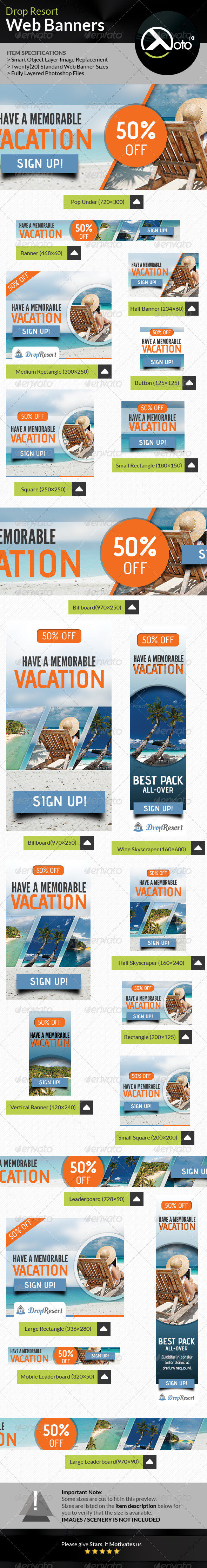 GraphicRiver Drop Beach Resort Vacation Trip Web Banners 7776629