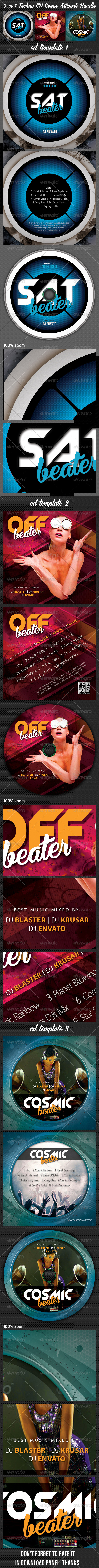 GraphicRiver 3 in 1 Techno CD Cover Artwork Bundle 02 7795708
