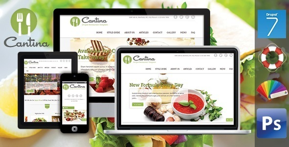 ThemeForest Cantina Food & Restaurant Drupal Theme 7630705