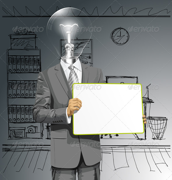 GraphicRiver Vector Lamp Head Business Man with Empty Write Boa 7796041