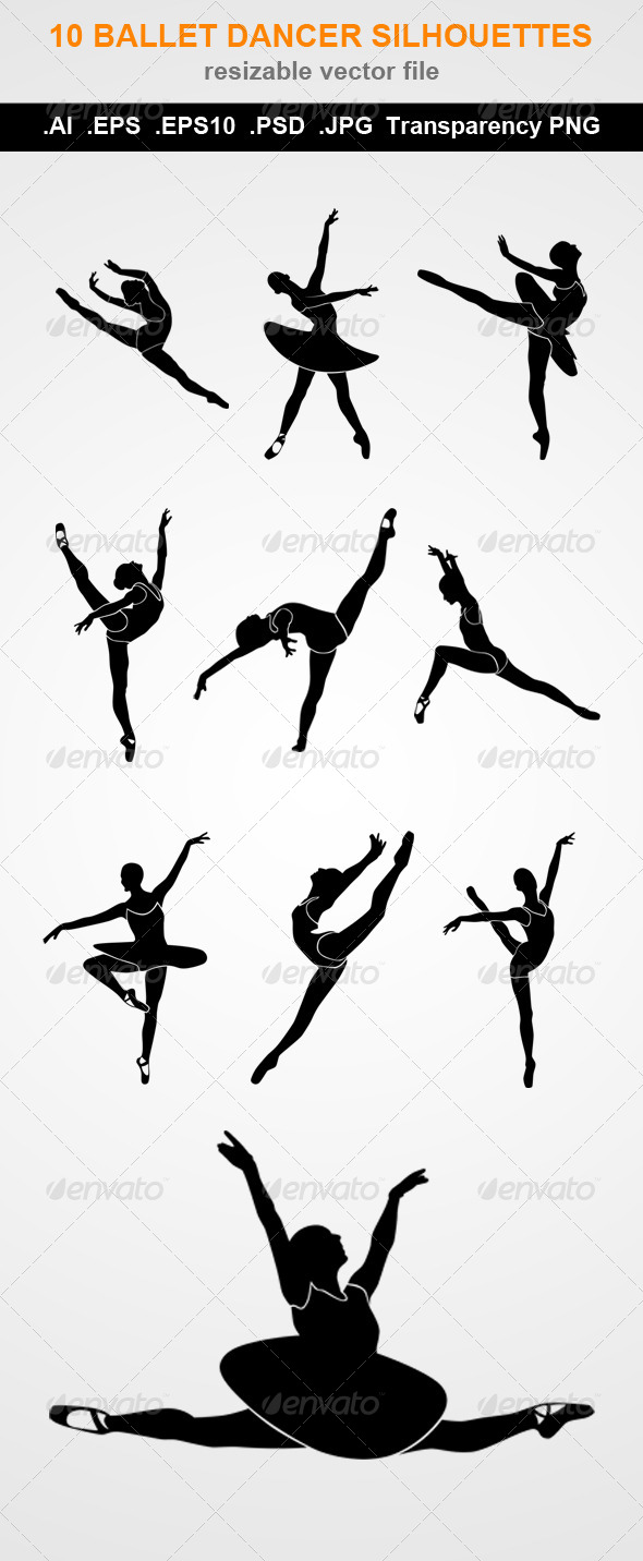 10 Ballet Dancer Silhouettes
