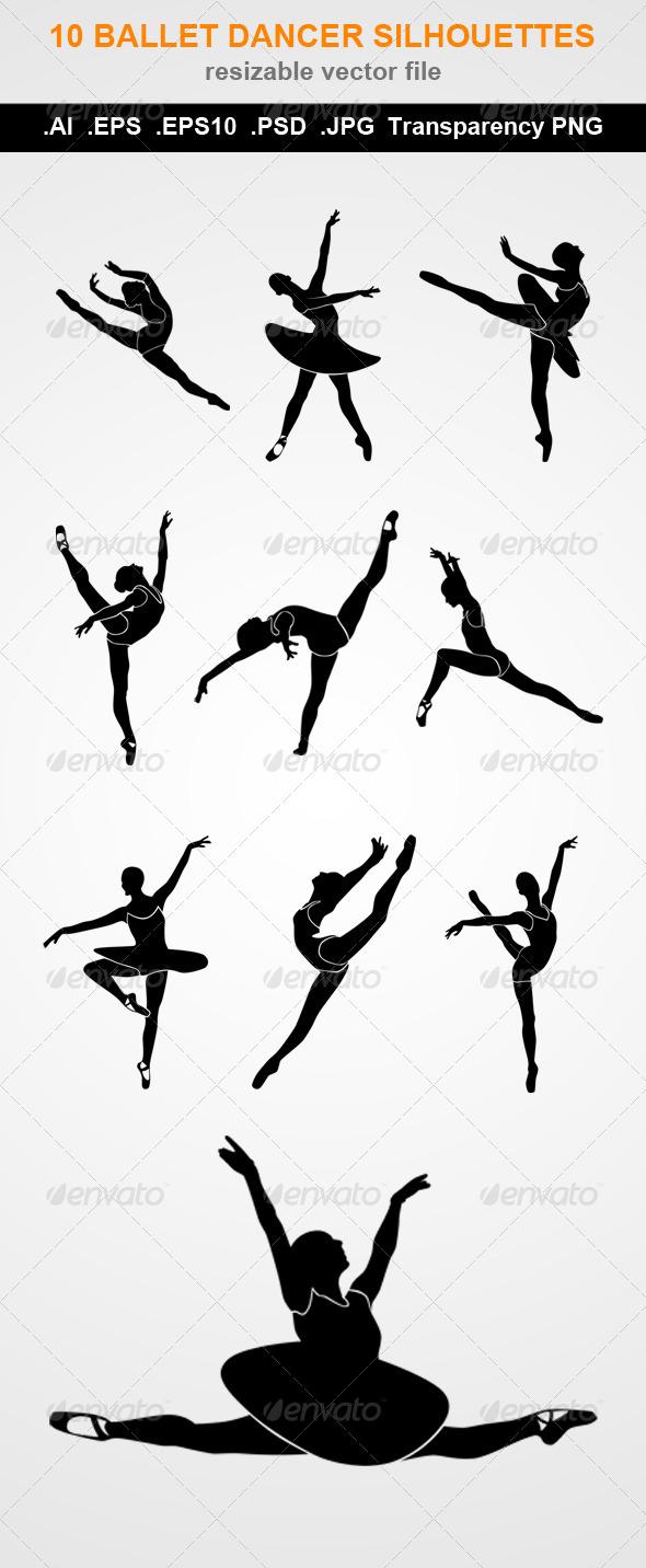 GraphicRiver 10 Ballet Dancer Silhouettes 7796078