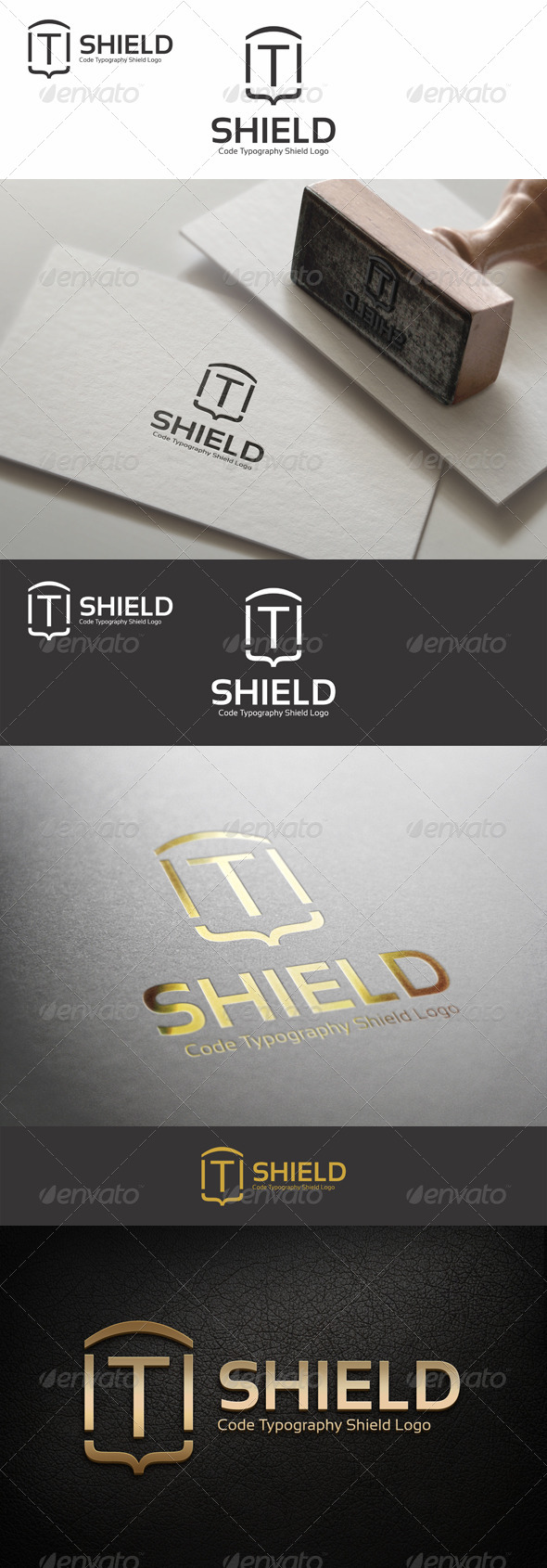 Code Typography Shield Logo - Symbols Logo Templates