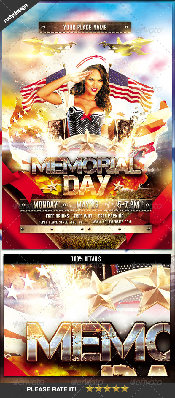 GraphicRiver Memorial Day Independence Day Flyer 7796356