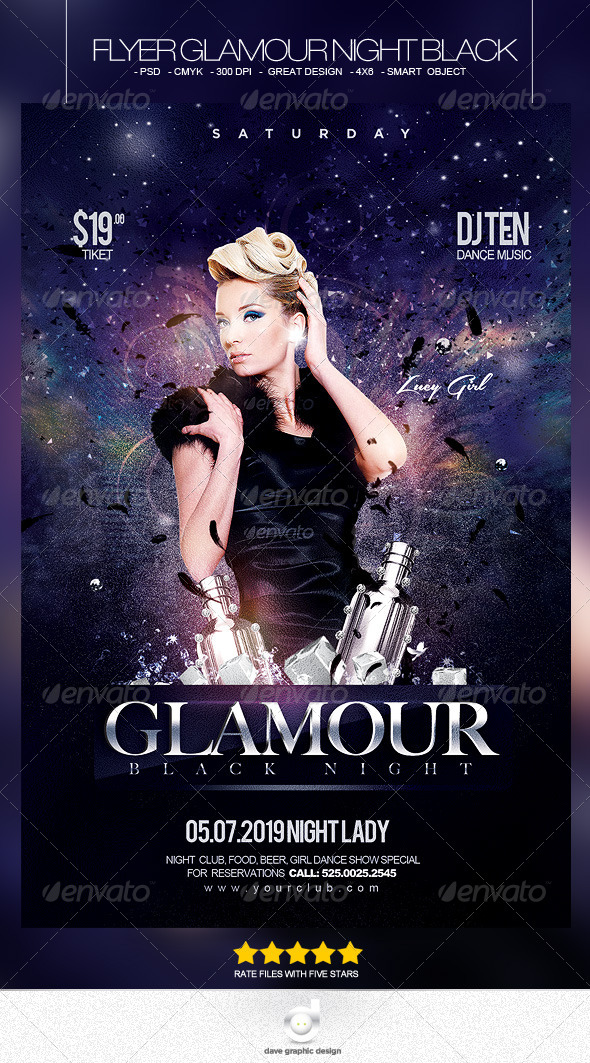 Flyer Glamour Black Night - Clubs & Parties Events