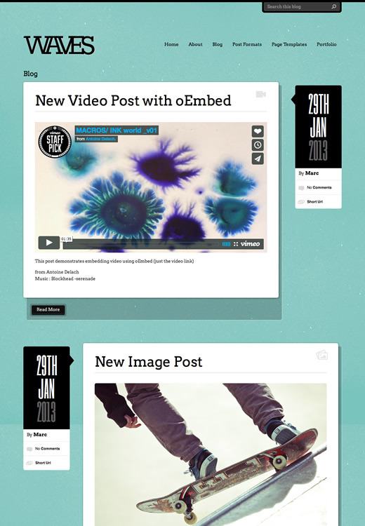 Waves - WordPress Blogging Theme