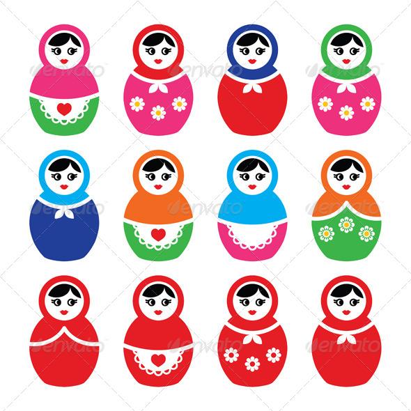 GraphicRiver Russian Doll Retro Babushka Vector Colourful Icons 7797421