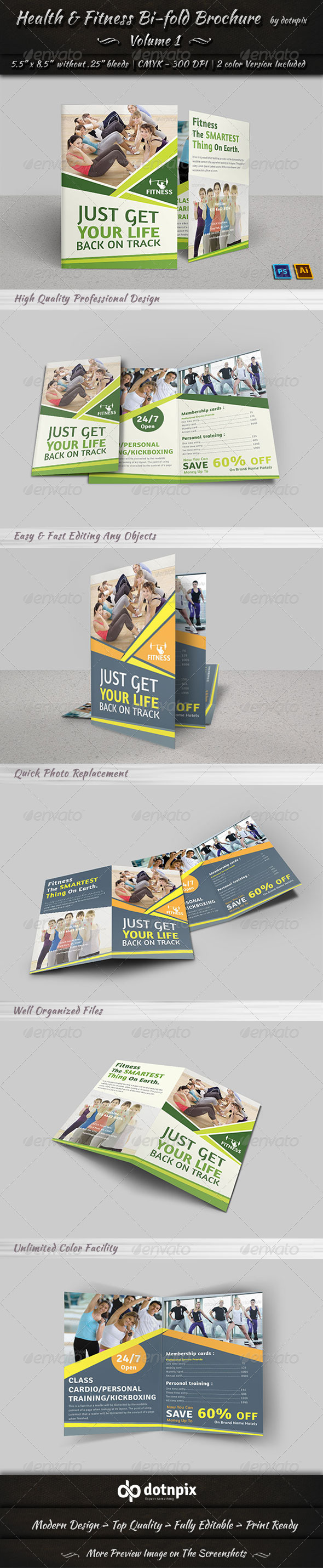 GraphicRiver Health & Fitness Bi-Fold Brochure Volume 1 7777464
