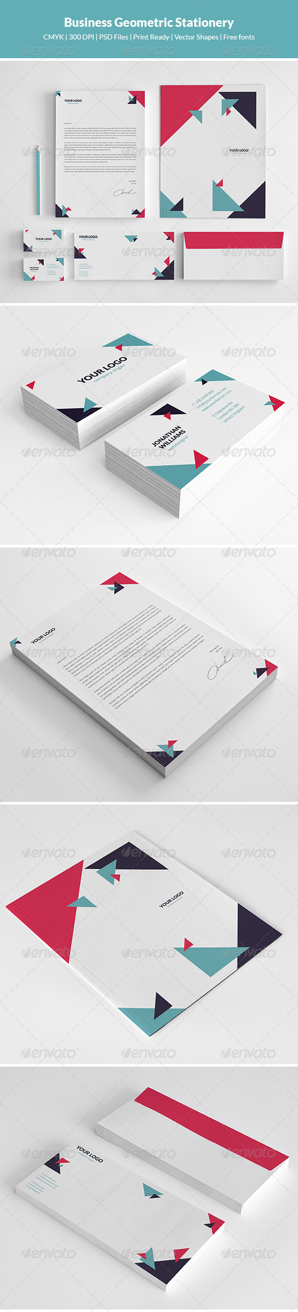 GraphicRiver Business Geometric Stationery 7797772