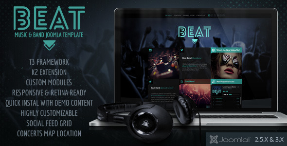 ThemeForest Beat One Page Music & Band Joomla Template 7723157