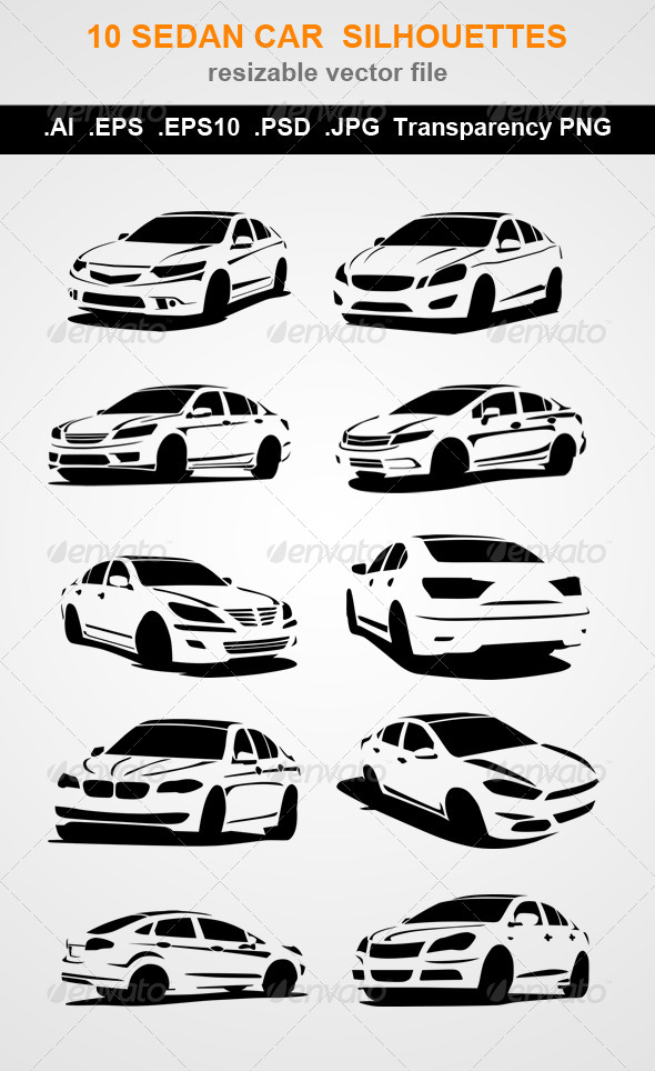GraphicRiver 10 Sedan Car Silhouettes 7798325