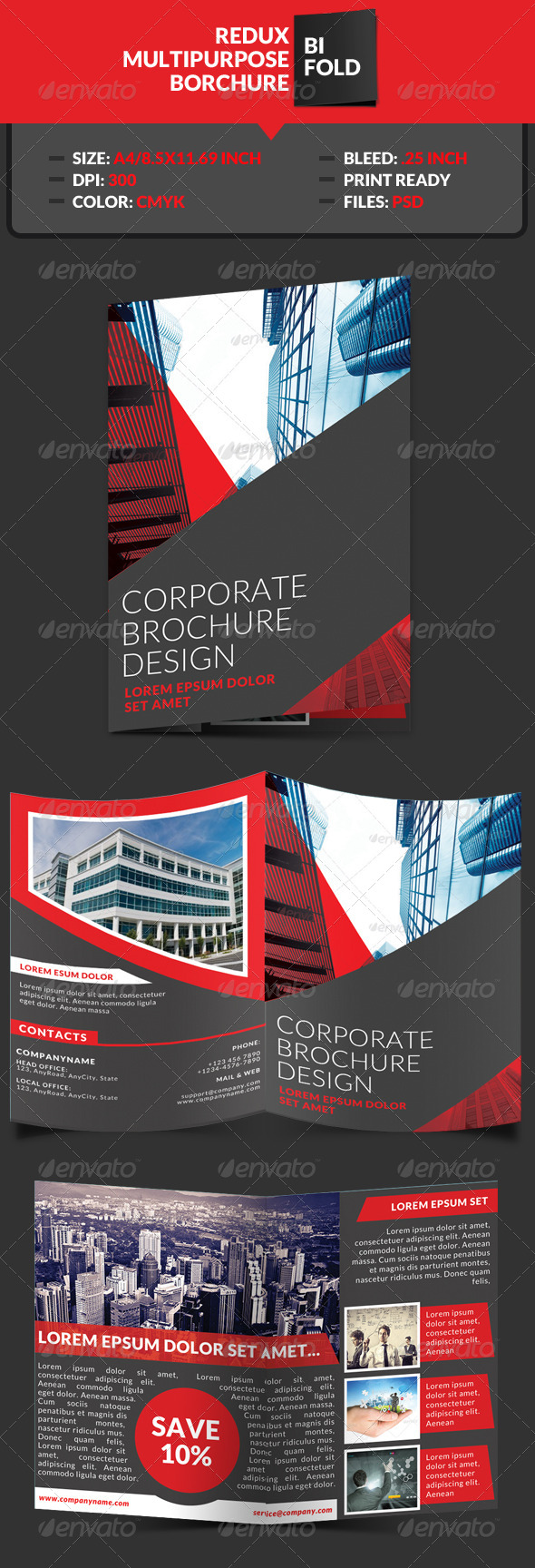 GraphicRiver Redux Corporate Bi-Fold Brochure Template 7745432