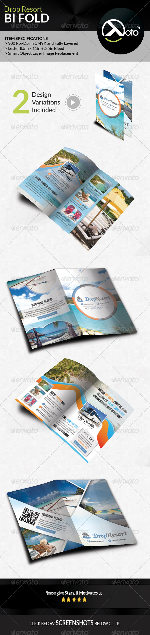 GraphicRiver Drop Beach Resort Vacation Trip Bifold 7799000