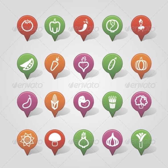 GraphicRiver Vegetables Mapping Pins Icons 7799042