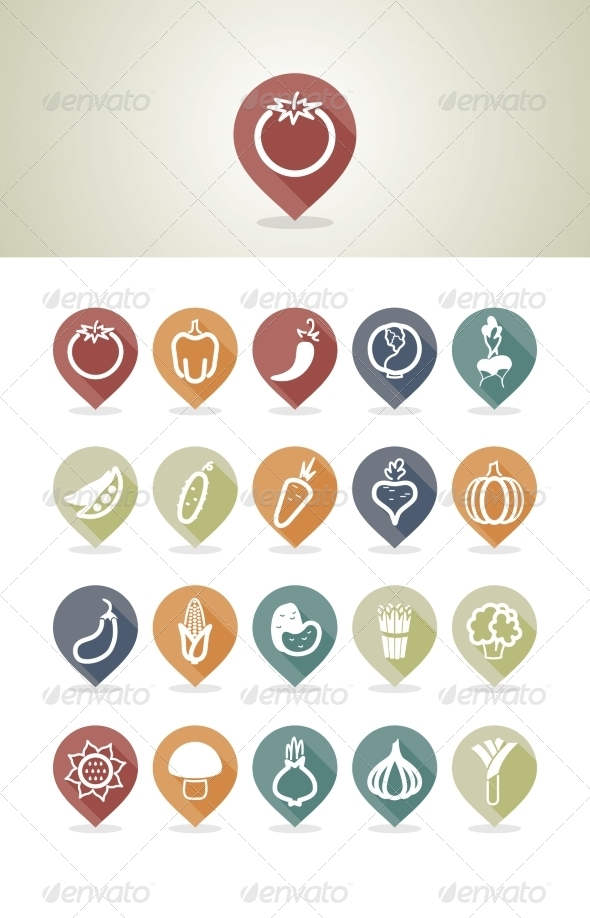 GraphicRiver Vegetables Mapping Pins Icons 7799052