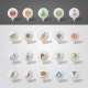Vegetables Mapping Pins Icons - GraphicRiver Item for Sale