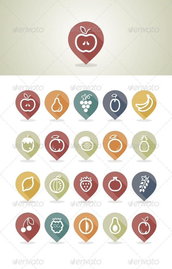 GraphicRiver Fruits Mapping Pins Icons 7799101
