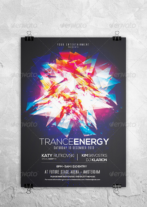 Trance Energy Flyer Template - Clubs & Parties Events
