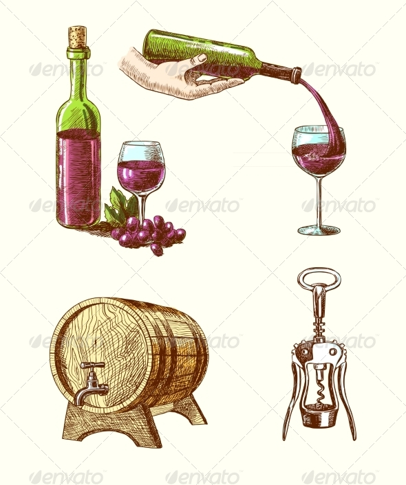 GraphicRiver Wine Sketch Decorative Set 7799324
