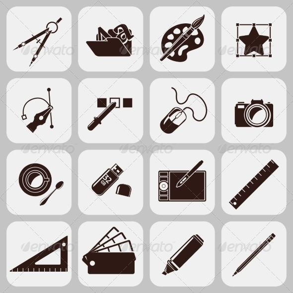 GraphicRiver Designer Tools Black Icons 7799378