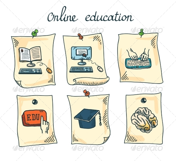 GraphicRiver Online Education Sticker Set 7799386
