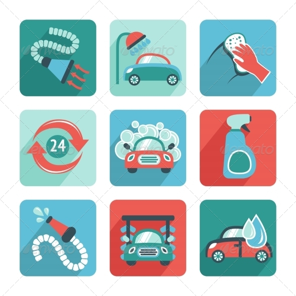 GraphicRiver Car Wash Icons Flat 7799390