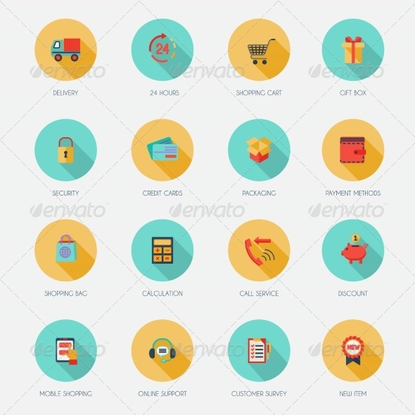 GraphicRiver Shopping E-commerce Icons Flat 7799534