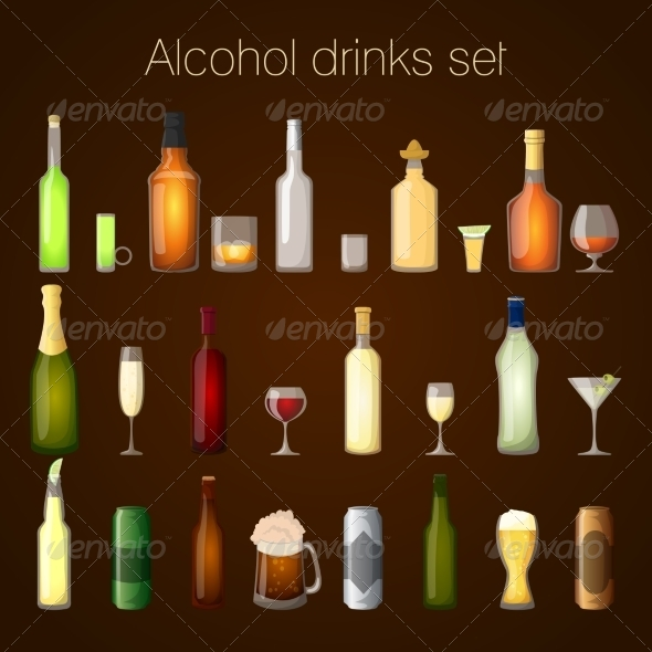 GraphicRiver Alcohol Drinks Set 7799546