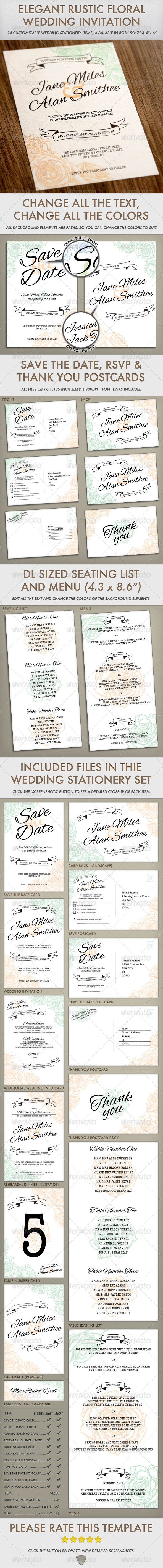 GraphicRiver Elegant Rustic Floral Wedding Invitation 7780848