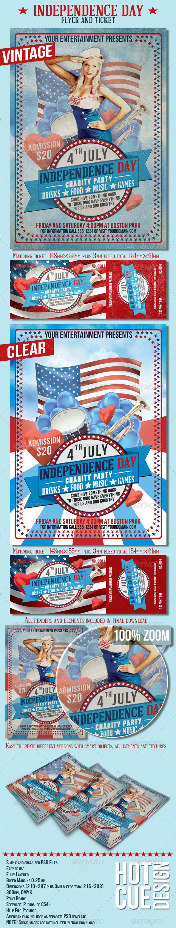 4th July Independence Day Flyer And Ticket