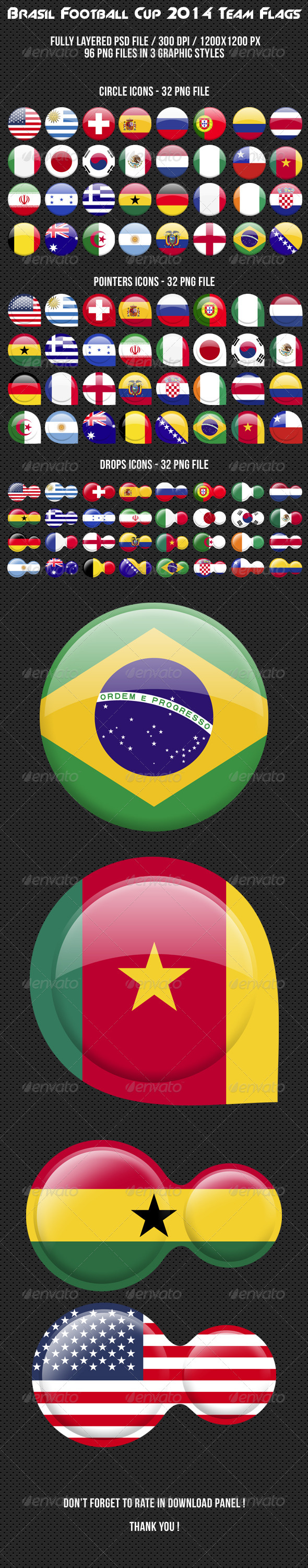GraphicRiver Brasil Football Cup 2014 Team Flags 7800859