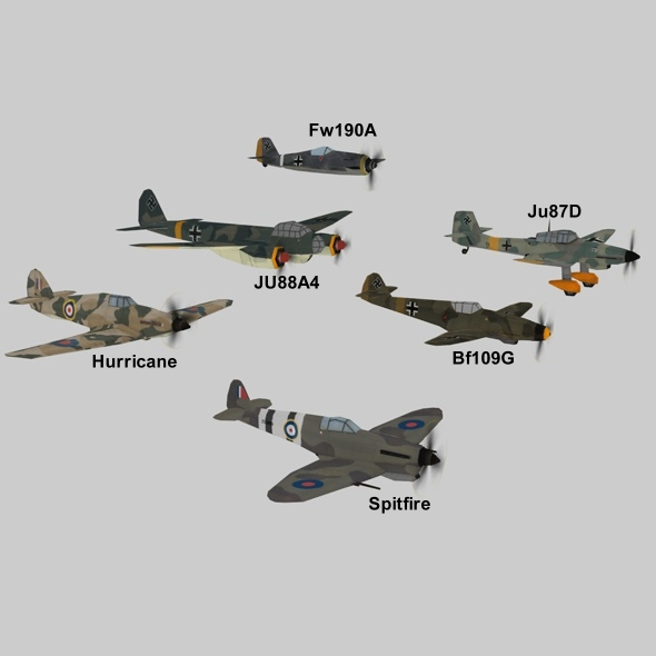3DOcean WWII Planes Pack 7793448