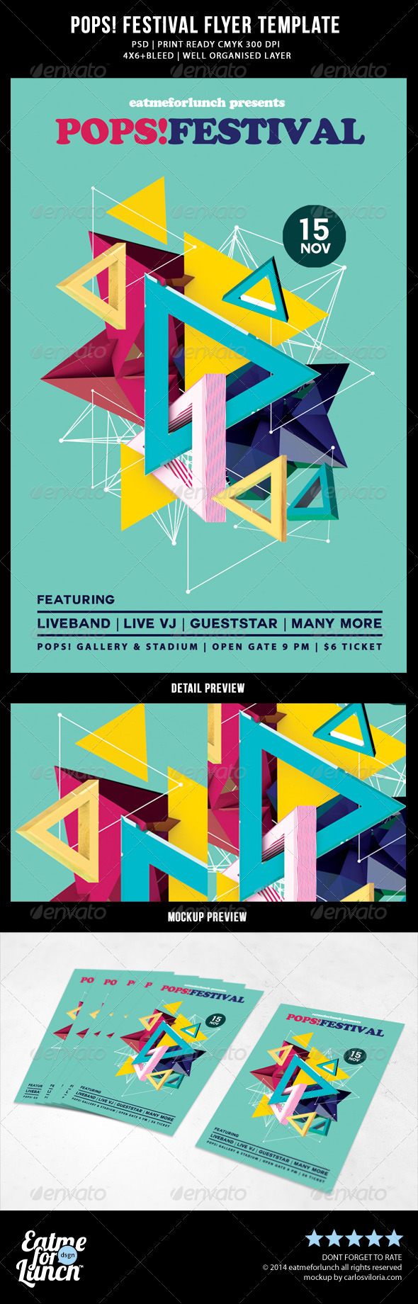 GraphicRiver Abstract Pop Music Festival Flyer Templates 7801076