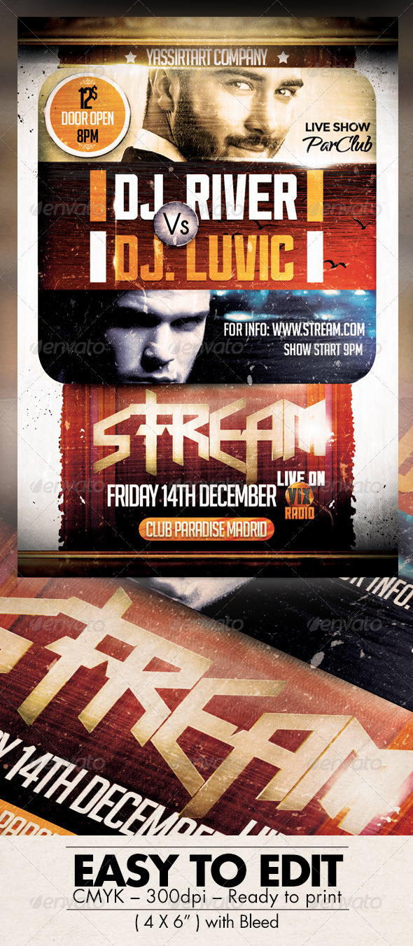 GraphicRiver Stream Party Flyer Template 7801085