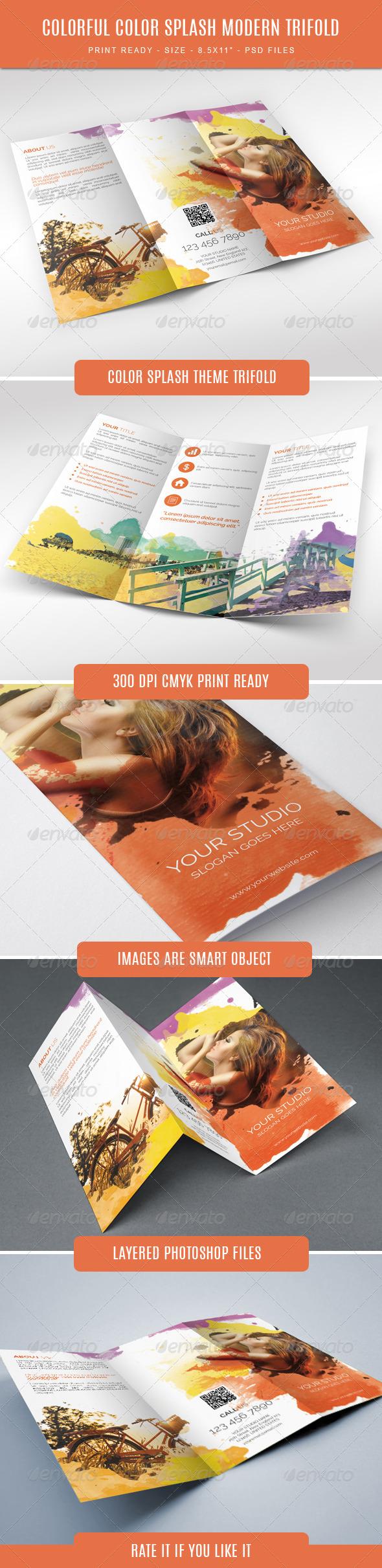 GraphicRiver Colorful Color Splash Modern Trifold 7801100