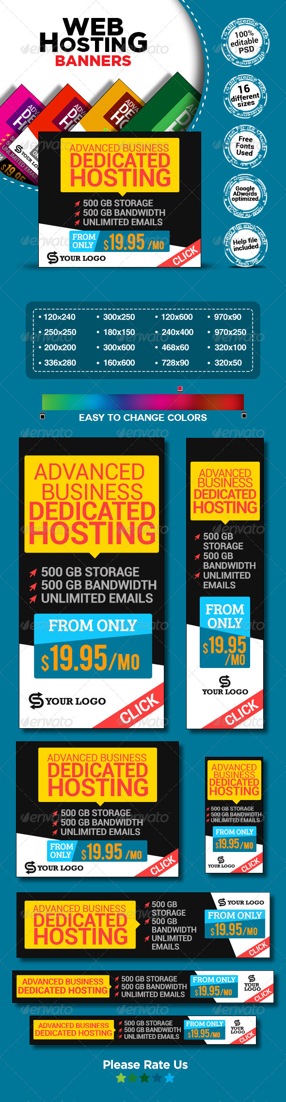 GraphicRiver Web Hosting Banners 7801198